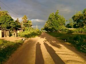 Ondergaande zon op Kome eiland.